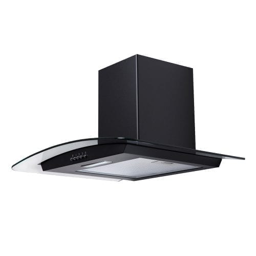 SIA CG61BL Black 60cm Curved Glass Chimney Cooker Hood Extractor and 1m Ducting