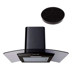 SIA CG61BL 60cm Black Cooker Hood Curved Glass Extractor Fan And Carbon Filter