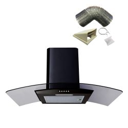 SIA CG91BL 90cm Curved Glass Black Chimney Cooker Hood Extractor And 1m Ducting