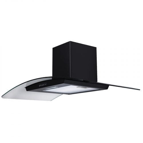 SIA CG91BL Black 90cm Curved Glass Chimney Cooker Hood Extractor and 1m Ducting