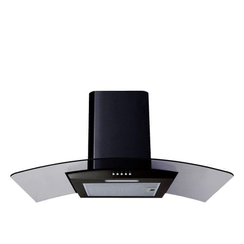SIA CG91BL 90cm Curved Glass Black Chimney Cooker Hood Kitchen Extractor Fan