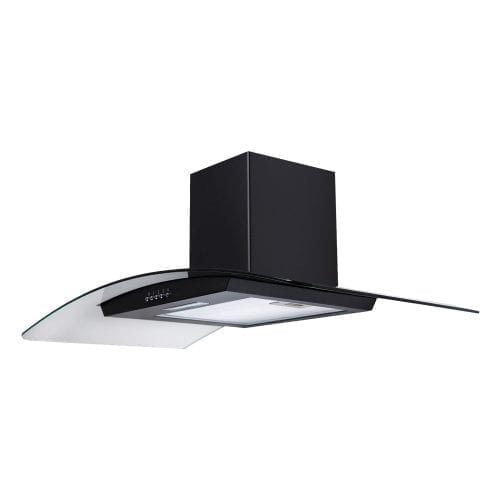 SIA CG91BL Black 90cm Curved Glass Chimney Cooker Hood Extractor Fan
