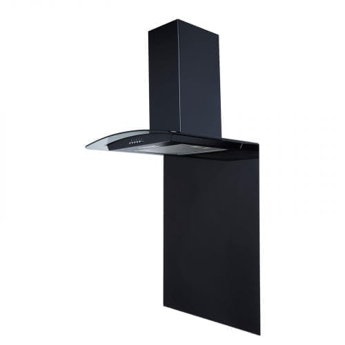 SIA CG61BL 60cm Curved Glass Black Chimney Cooker Hood & 60cm Glass Splashback