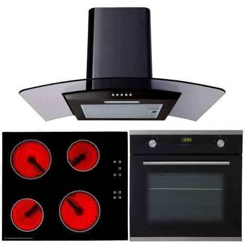 SIA 60cm Single Electric Oven, Black Ceramic Hob & Cooker Hood Glass Extractor