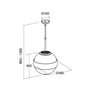 CDA 3S10BL 50cm Spherical Island Black Designer Cooker Hood Extractor