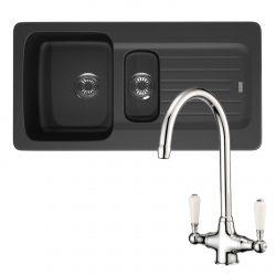 Franke Aveta 1.5 Bowl Black Tectonite Kitchen Sink And Reginox Elbe Mixer Tap
