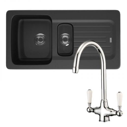 Franke Aveta 1.5 Bowl Black Kitchen Sink & Reginox Elbe Mixer Twin Lever Tap