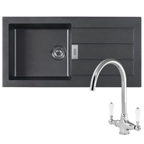 Franke Sirius 1.0 Bowl Black Kitchen Sink & Reginox Elbe Swan Neck Chrome Tap