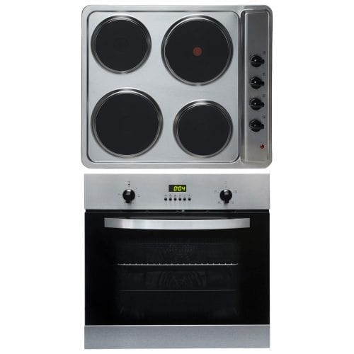 SIA 60cm Single Digital Electric Fan Oven & 4 Zone Stainless Steel Electric Hob