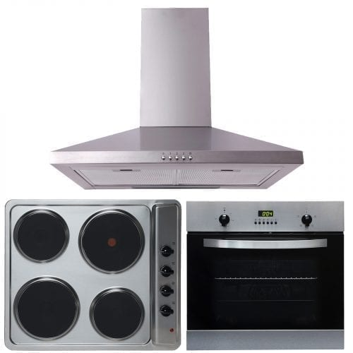 SIA 60cm Electric True Fan Single Oven, 4 Zone Plate Hob And Chimney Cooker Hood