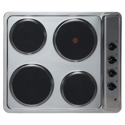 SIA 60cm Electric True Fan Single Oven, 4 Zone Plate Hob & Chimney Cooker Hood