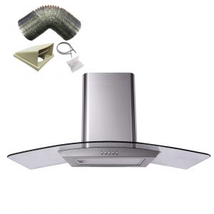 SIA 110cm Stainless Steel Curved Glass Cooker Hood Extractor Fan And 1m Ducting