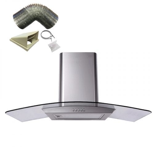 SIA CP111SS 110cm Curved Glass St/Steel Cooker Hood Extractor Fan + 1m Ducting