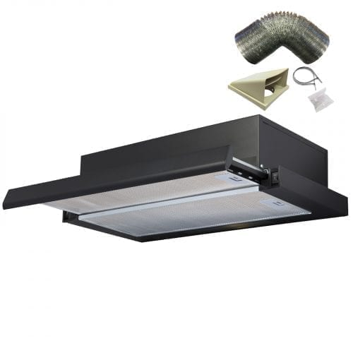 SIA 60cm Telescopic Integrated Black Cooker Hood Extractor Fan + 3m Ducting Kit