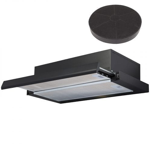 SIA 60cm Black Telescopic Integrated Cooker Hood Extractor Fan And Carbon Filter