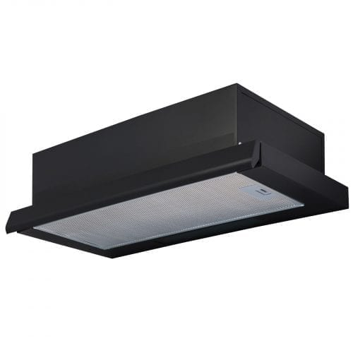 SIA 60cm Telescopic Integrated Black Cooker Hood Extractor Fan + Charcoal Filter
