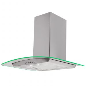 SIA 60cm Stainless Steel 3 Colour Edge Lit Curved Glass Cooker Hood And Filter