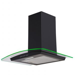SIA 70cm Black LED Edge Lit Curved Glass Cooker Hood Extractor & 1m Ducting Kit