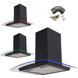 SIA 70cm Black LED Edge Lit Curved Glass Cooker Hood Extractor & 3m Ducting Kit