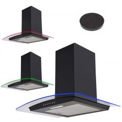SIA 70cm Black LED Edge Lit Curved Glass Cooker Hood Extractor And Carbon Filter