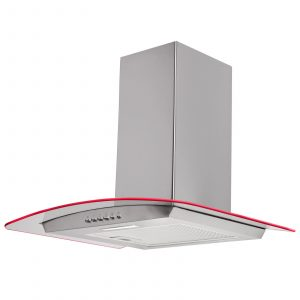 SIA 70cm Stainless Steel 3 Colour LED Curved Glass Cooker Hood Extractor Fan