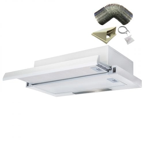 SIA 60cm White Telescopic Integrated Cooker Hood Extractor Fan & 1m Ducting Kit