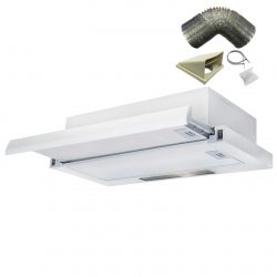 SIA 60cm White Telescopic Integrated Cooker Hood Extractor Fan & 3m Ducting Kit