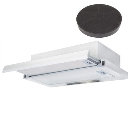 SIA 60cm White Telescopic Integrated Cooker Hood Extractor Fan & Charcoal Filter