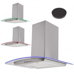 SIA 70cm Stainless Steel LED Edge Lit Curved Glass Cooker Hood & Carbon Filter