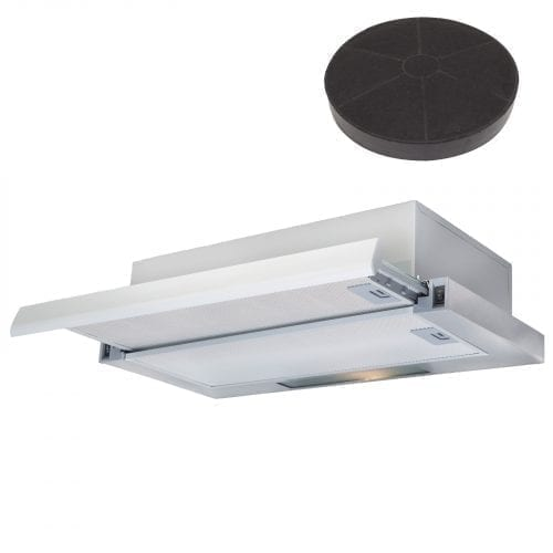 SIA 60cm Stainless Steel Telescopic Cooker Hood Extractor Fan And Carbon Filter
