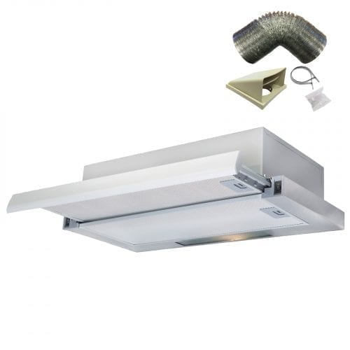 SIA 60cm S/Steel Telescopic Integrated Cooker Hood Extractor + 3m Ducting Kit