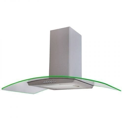 SIA 90cm Stainless Steel LED Edge Lit Curved Glass Cooker Hood & 1m Ducting Kit