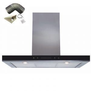 SIA 90cm Stainless Steel Linear Touch Control Cooker Hood Fan & 1m Ducting Kit