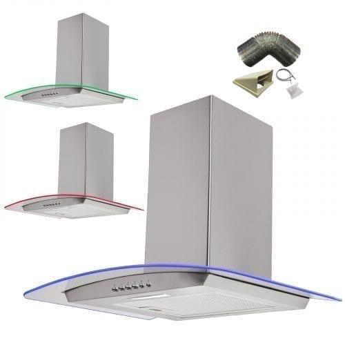 SIA 90cm 3 Colour LED Edge Lit Curved Glass St/Steel Cooker Hood +3m Ducting Kit