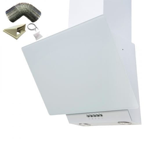 SIA EAG61WH White 60cm Angled Glass Chimney Cooker Hood Kitchen & 1m Ducting Kit