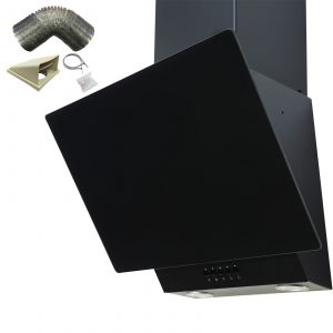 SIA EAG61BL 60cm Black Angled Chimney Cooker Hood Extractor Fan & 1m Ducting Kit