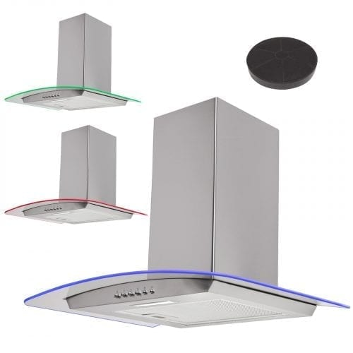 SIA 90cm 3 Colour LED Edge Lit Curved Glass St/Steel Cooker Hood +Carbon Filters