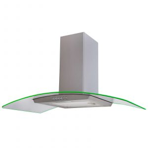 SIA 90cm Stainless Steel LED Edge Lit Curved Glass Cooker Hood and Carbon Filter