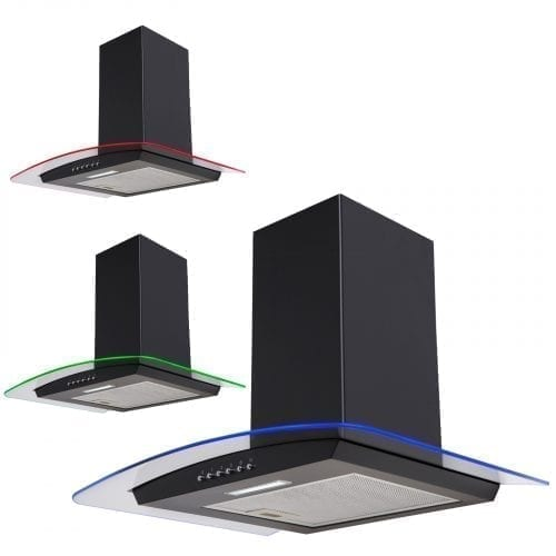 SIA CPLE91BL 90cm 3 Colour LED Curved Glass Black Cooker Hood Extractor Fan