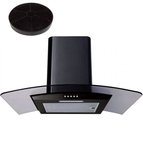 SIA CPL61BL 60cm Curved Glass Black Cooker Hood Extractor + Recirculation Filter