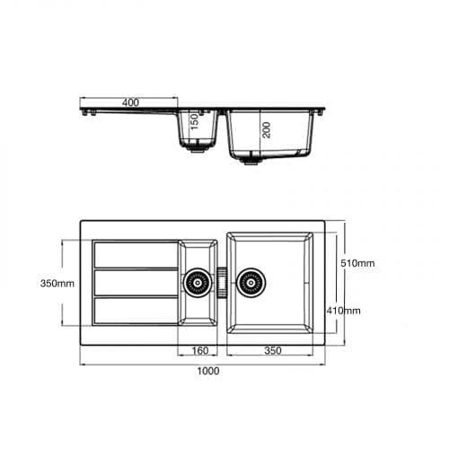Franke Sirius SID651WH 1.5 Bowl White Tectonite Reversible Kitchen Sink & Waste
