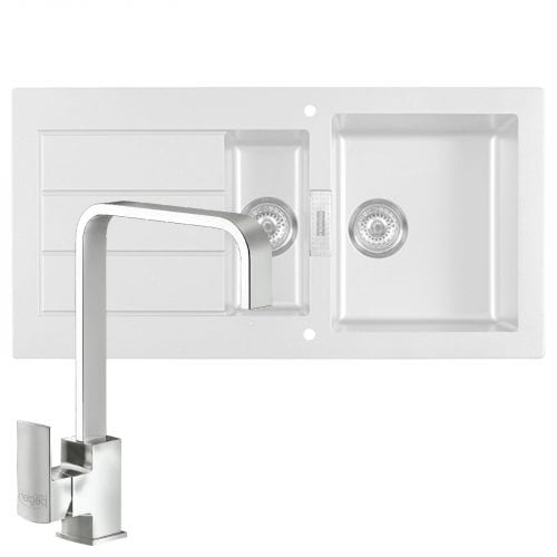 Franke SID651WH Sirius 1.5 Bowl White Kitchen Sink & Reginox Astoria Chrome Tap