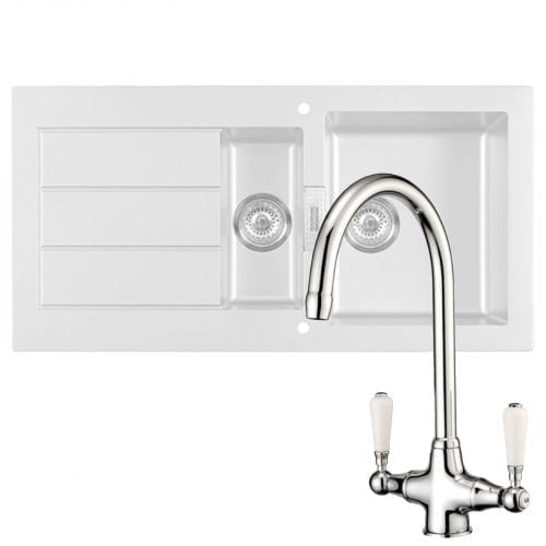 Franke SID651WH Sirius 1.5 Bowl White Kitchen Sink And Reginox Elbe Chrome Tap
