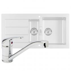 Franke SID651WH Sirius 1.5 Bowl White Kitchen Sink & Astracast TP0800 Chrome Tap