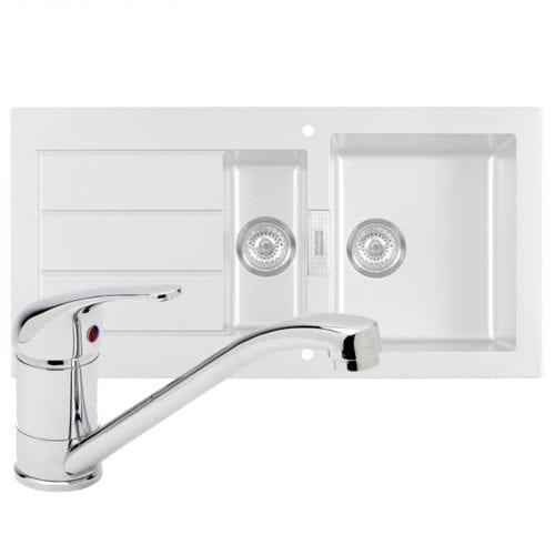 Franke SID651 Sirius 1.5 Bowl White Kitchen Sink & Astracast TP0800 Chrome Tap