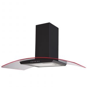 SIA 90cm Black LED Edge Lit Curved Glass Cooker Hood Extractor & 1m Ducting Kit