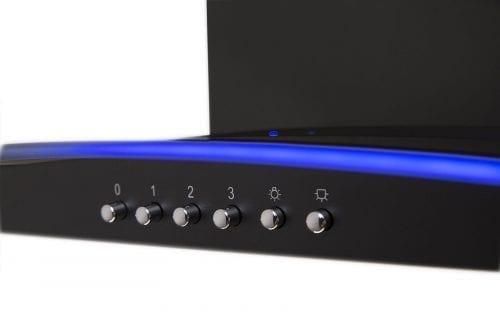 SIA 90cm 3 Colour LED Edge Lit Curved Glass Black Cooker Hood + 1m Ducting Kit
