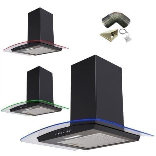 SIA 90cm 3 Colour LED Edge Lit Curved Glass Black Cooker Hood + 3m Ducting Kit