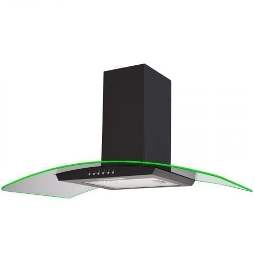 SIA 90cm Black LED Edge Lit Curved Glass Cooker Hood Extractor & 3m Ducting Kit