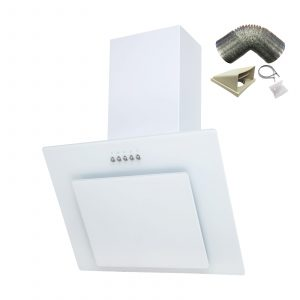 SIA 70cm White Angled Glass Chimney Cooker Hood Extractor + 1m Ducting Kit